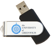 black twister USB with a white crest